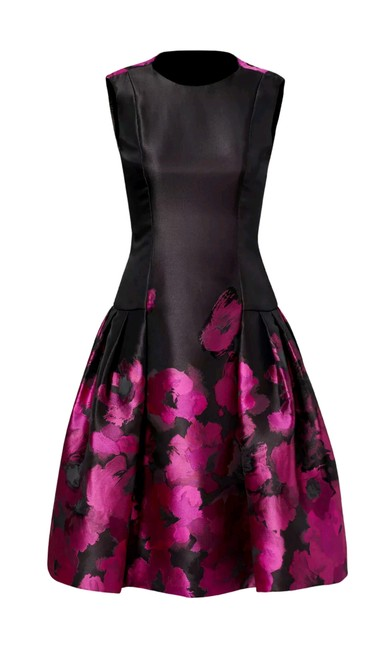 Item - Black Purple Lined Hourglass Pleated Jacquard Crew Formal Night Out Short Cocktail Dress Size 6 (S)