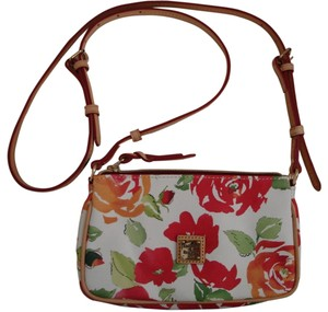 Dooney & Bourke English Garden Removable Strap Leather Trim Interior Pockets Cross Body Bag