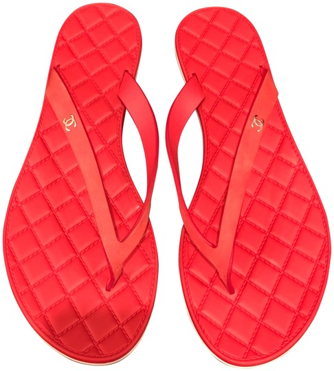 Chanel Red Quilted Suede Leather Cc Silver Thong Flip -5908