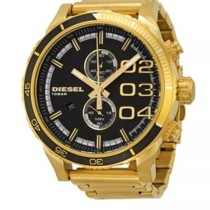 Diesel New Men's Diesel DZ4337 Double Down Black Dial Gold Tone Chronograph Watch
