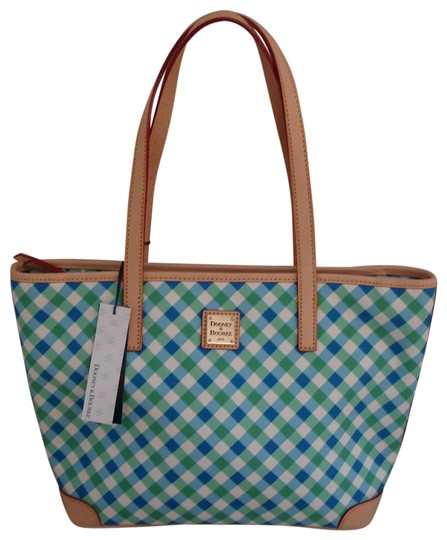 Dooney & Bourke Shopper Check Print Leather Handles New Tote in Blue, Green & White Image 0