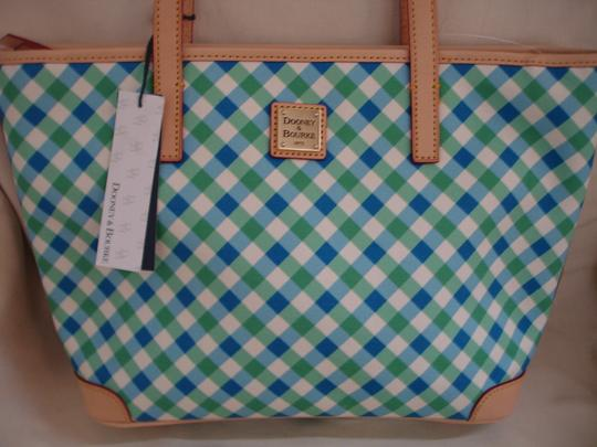 Dooney & Bourke Shopper Check Print Leather Handles New Tote in Blue, Green & White Image 1
