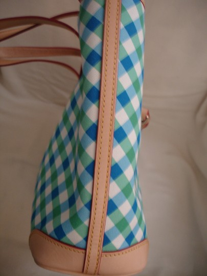 Dooney & Bourke Shopper Check Print Leather Handles New Tote in Blue, Green & White Image 2