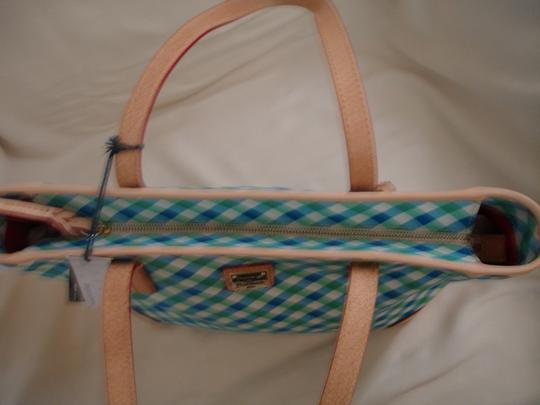 Dooney & Bourke Shopper Check Print Leather Handles New Tote in Blue, Green & White Image 3