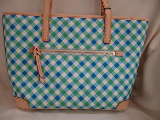 Dooney & Bourke Shopper Check Print Leather Handles New Tote in Blue, Green & White Image 7