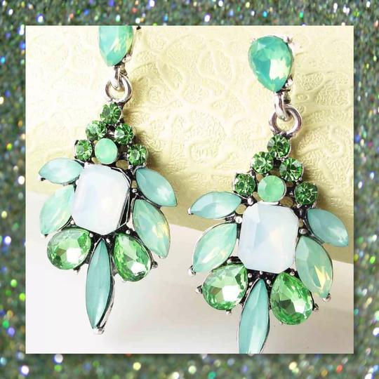Other New Acrylic and Crystal Green Dangle Earrings Image 1