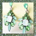 Other New Acrylic and Crystal Green Dangle Earrings Image 2