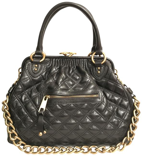 Item - Quilted Black Gold Leather Satchel