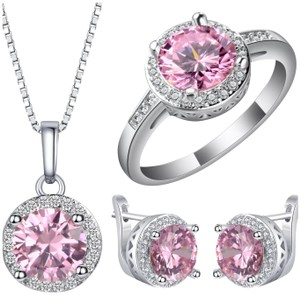 Other New 3pc Pink Sapphire Sterling Silver Set