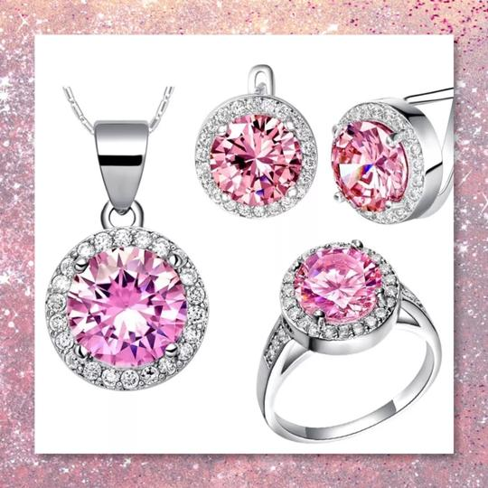 Other New 3pc Pink Sapphire Sterling Silver Set Image 4