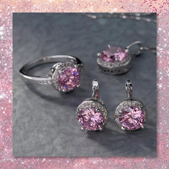 Other New 3pc Pink Sapphire Sterling Silver Set Image 5