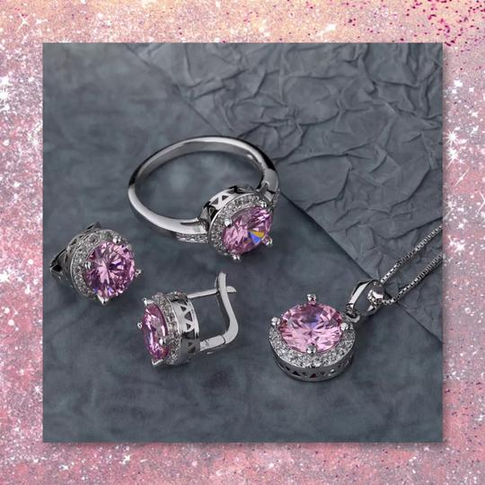 Other New 3pc Pink Sapphire Sterling Silver Set Image 7
