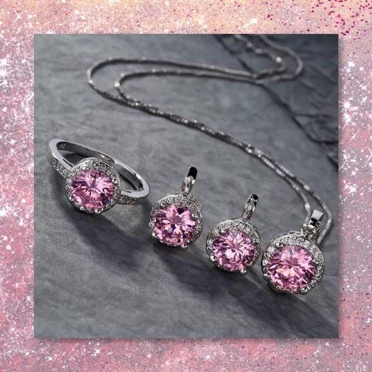 Other New 3pc Pink Sapphire Sterling Silver Set Image 8