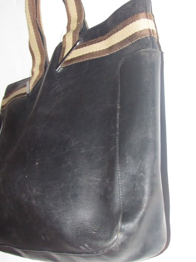 Gucci Great For Everyday Chrome Hardware Excellent Vintage Xl Or Satchel Tote in black leather & black and brown striped accents Image 4