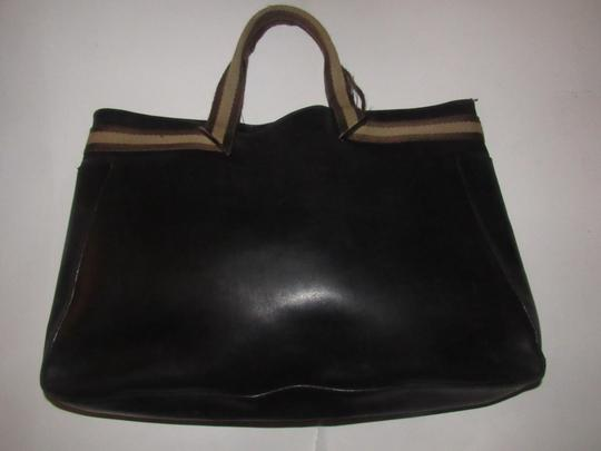 Gucci Great For Everyday Chrome Hardware Excellent Vintage Xl Or Satchel Tote in black leather & black and brown striped accents Image 5