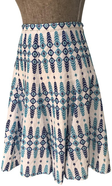 Item - White Turquoise Navy Embroidered and Sequins Skirt Size 6 (S, 28)