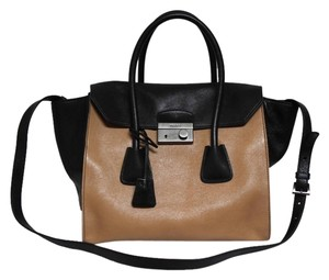 Prada Glazed Calf Leather Satchel in Natural Nero