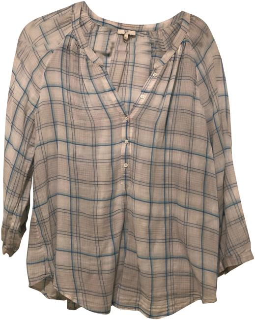 Preload https://img-static.tradesy.com/item/23072092/joie-blue-and-white-sheer-plaid-shirt-button-down-top-size-12-l-0-1-650-650.jpg