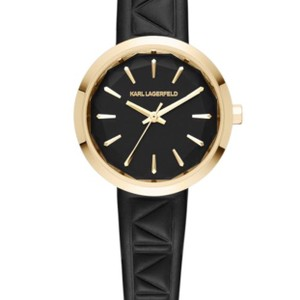 Karl Lagerfeld Karl Lagerfeld Black Leather Band Gold Face Watch KL1610