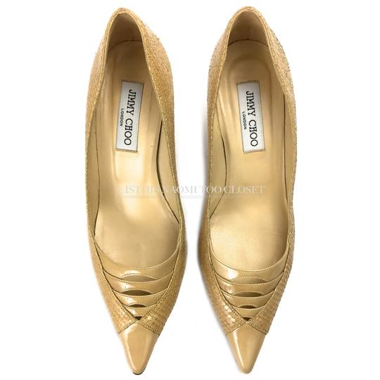 Jimmy Choo Work Business Travel Pointy Toe Nude/ Tan Pumps Image 3