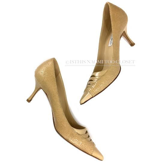 Jimmy Choo Work Business Travel Pointy Toe Nude/ Tan Pumps Image 6