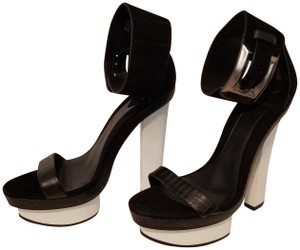 Brian Atwood Platform Ankle Strap Black and White Sandals