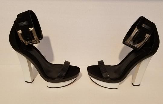 Brian Atwood Platform Ankle Strap Black and White Sandals Image 1