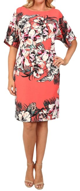 Preload https://img-static.tradesy.com/item/23072299/adrianna-papell-coral-red-pink-orange-white-tropical-floral-print-sheath-mid-length-cocktail-dress-s-0-1-650-650.jpg