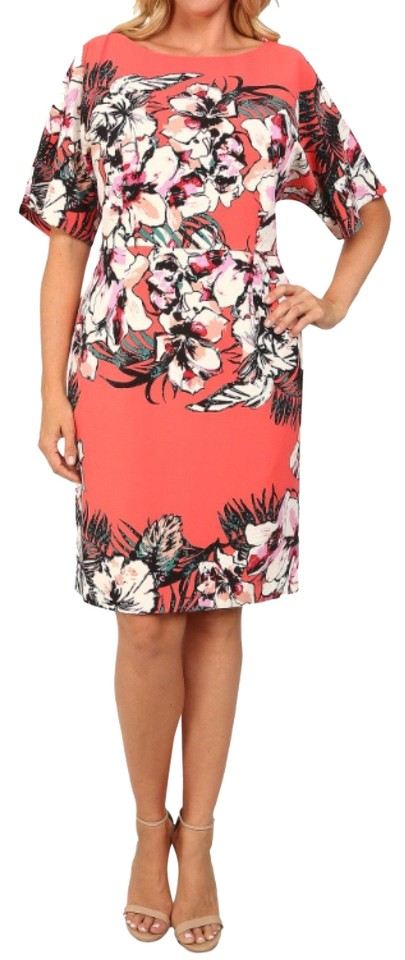 30754fbcc9c Adrianna Papell Coral Red Pink Orange White Tropical Floral Print Sheath  Cocktail Dress