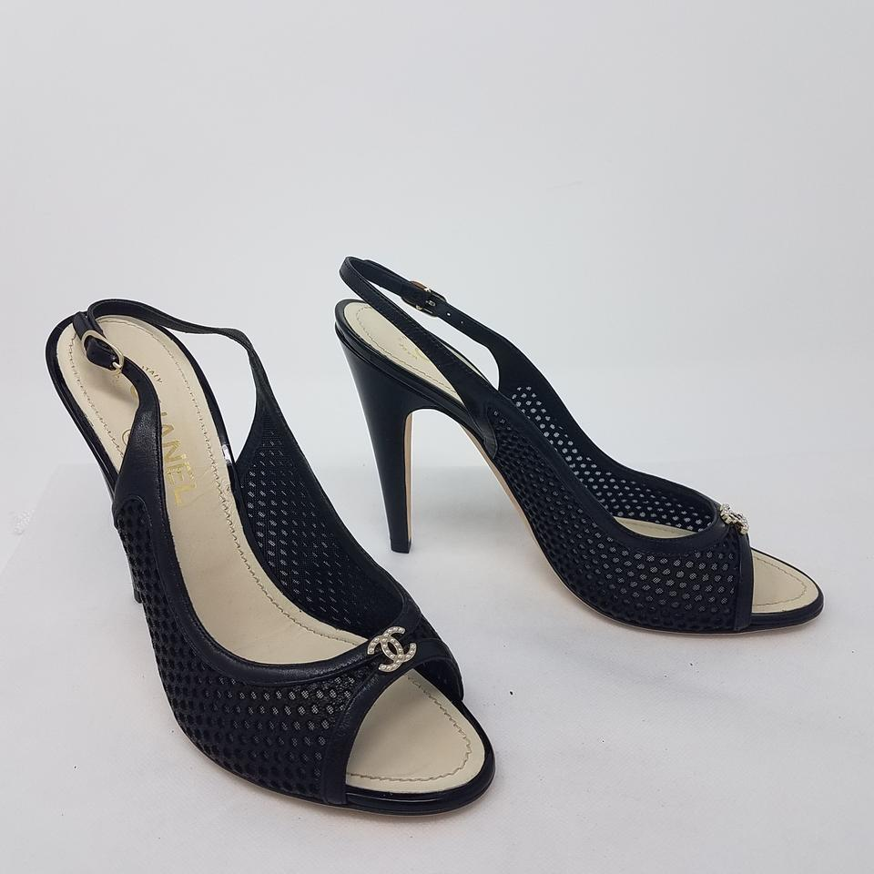 2a98d47b4ff Chanel Black Gold Perforated Leather Cc Logo Peep-toe Slingback Pumps  Sandals