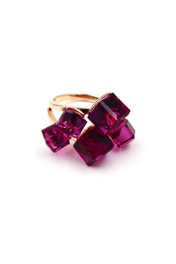 Ocean Fashion Gold Purple Square Crystal Ring Image 0