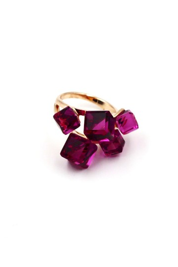Ocean Fashion Gold Purple Square Crystal Ring Image 1