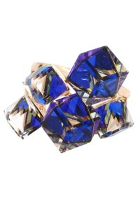 Ocean Fashion Gold blue square crystal ring
