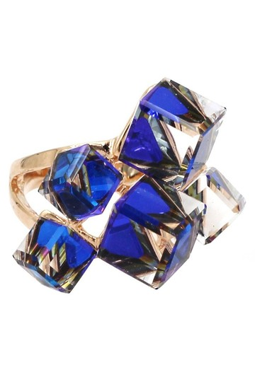 Ocean Fashion Gold blue square crystal ring Image 1