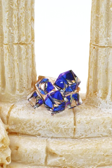 Ocean Fashion Gold blue square crystal ring Image 2