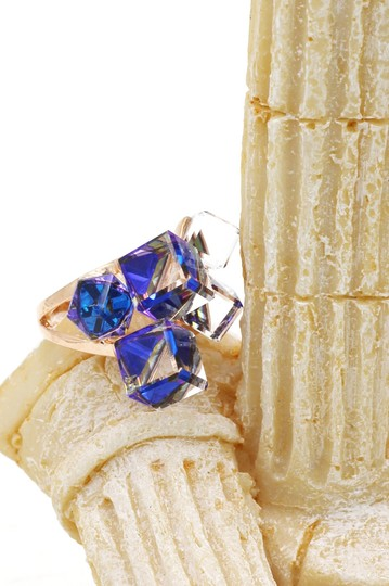 Ocean Fashion Gold blue square crystal ring Image 3