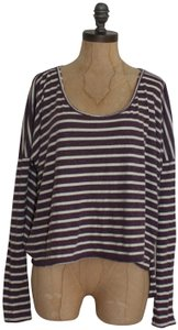 Free People Beach Striped Cropped One Size T Shirt purple white
