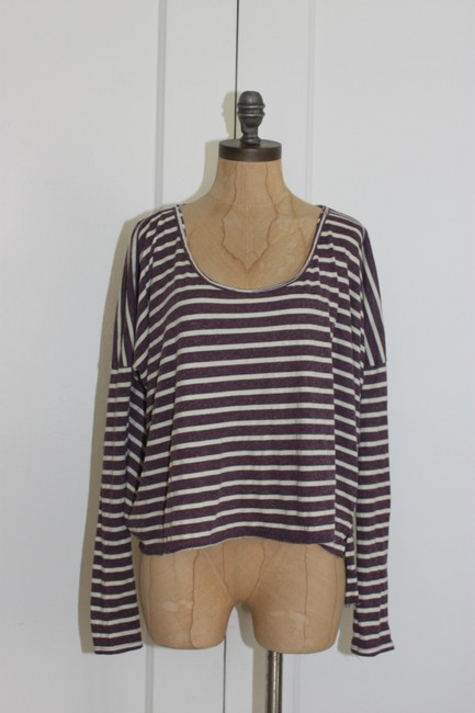 Free People Beach Striped Cropped One Size T Shirt purple white Image 1