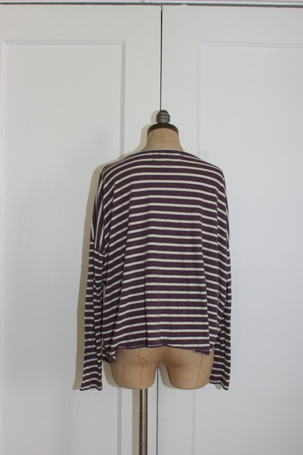 Free People Beach Striped Cropped One Size T Shirt purple white Image 2