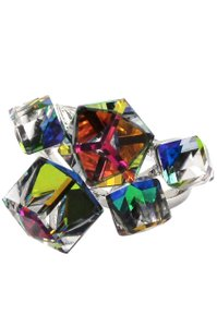 Ocean Fashion Silver colored square crystal ring