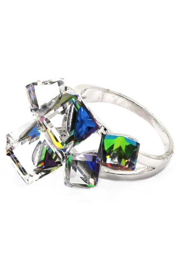 Ocean Fashion Silver colored square crystal ring Image 2