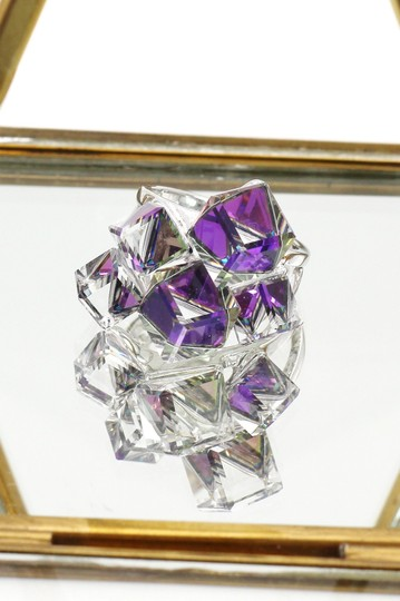Ocean Fashion Silver Purple Square Crystal Ring Image 1