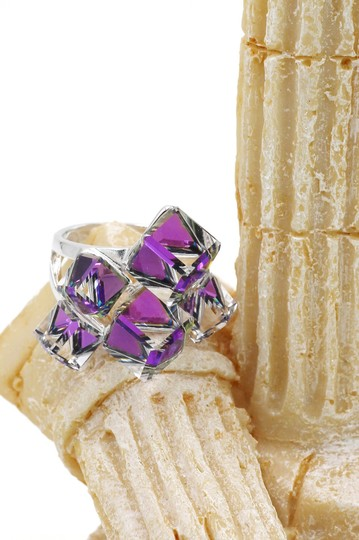 Ocean Fashion Silver Purple Square Crystal Ring Image 2