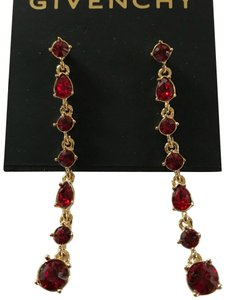 Givenchy Swarorvski red crysals Linear Drop Earrings