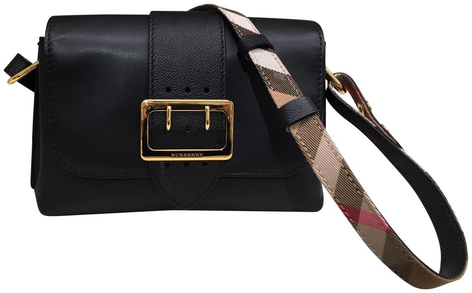 961acc68b05 Burberry Women Soft Grain Small Buckle Black Leather Cross Body Bag ...