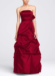 David's Bridal Apple Red Strapless Satin Ballgown With Pick-up And Sash Dress