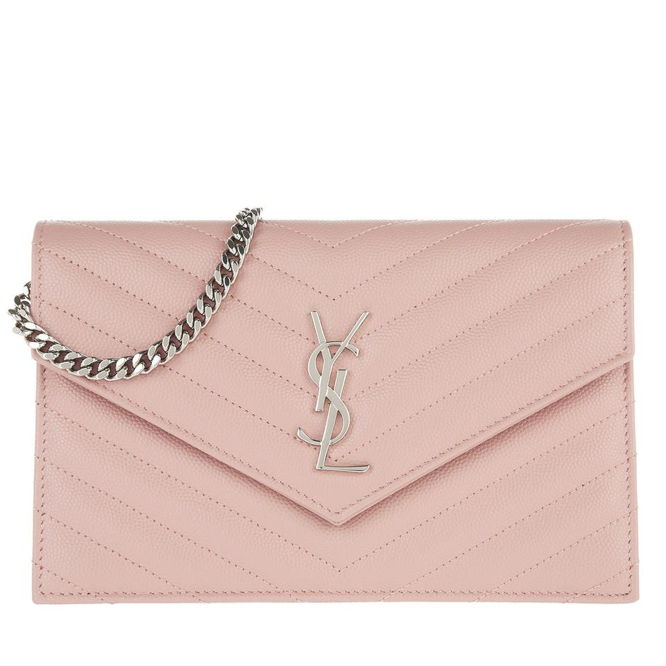 c62b9bb83b1e Saint Laurent Monogram Envelope Chain Wallet Pink Calfskin Leather Cross  Body Bag 11% off retail