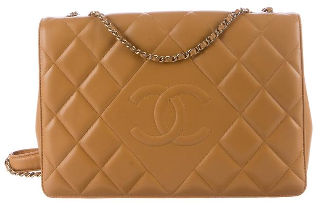 Chanel Classic Flap Diamond Cc Logo Quilted Shoulder Gold Hw Beige Tan Lambskin Leather Cross Body Bag Chanel Classic Flap Diamond Cc Logo Quilted Shoulder Gold Hw Beige Tan Lambskin Leather Cross Body Bag Image 1