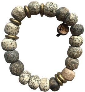 Other Stegadon Bone Stretch Bracelet with Tibetan Brass Spacers