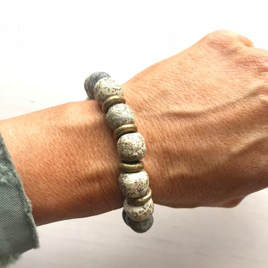 Other Stegadon Bone Stretch Bracelet with Tibetan Brass Spacers Image 1
